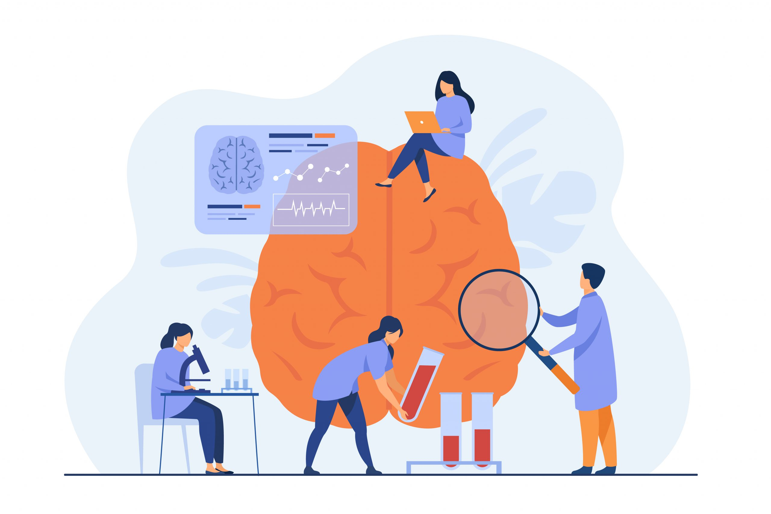 Doctors doing medical research on human brain and testing blood samples. Scientists studying brain and memory, collecting data. Vector illustration for experiment, laboratory, science concept